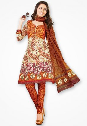 Surya Life White And Red Stylish Dress Material