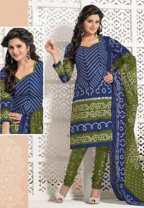Diffusion Adorable Blue And Mehendi Green Salwar Kameez