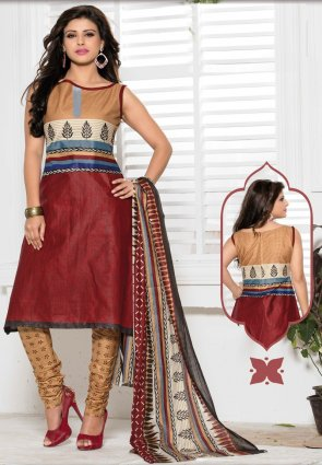 Diffusion Aesthetic Apricot And Brick Red Salwar Kameez