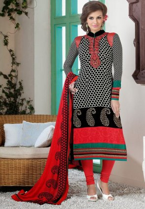 Diffusion Aesthetic Black And Red Salwar Kameez