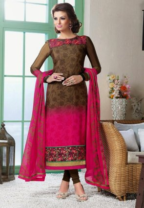 Diffusion Alluring Deep Deep Pink And Brown Salwar Kameez