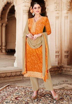 Diffusion Alluring Orange Salwar Kameez