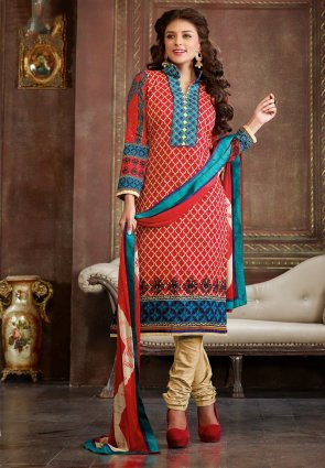 Diffusion Attractive Red Salwar Kameez