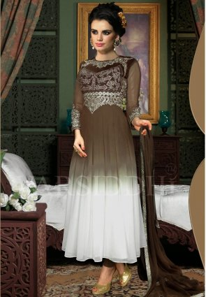 Diffusion Butta Brown And Off White Salwar Kameez