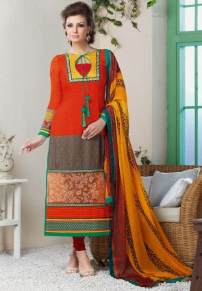 Diffusion Captivating Ash Gray And Coral Salwar Kameez