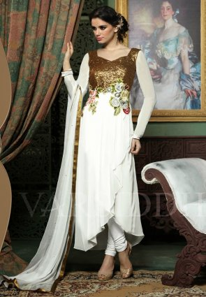 Diffusion Charming Gold Color And Off White Salwar Kameez
