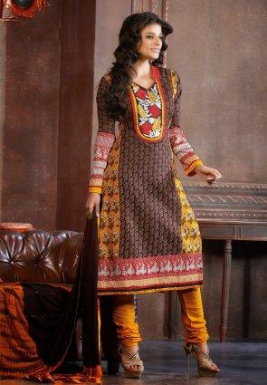 Diffusion Charming Saddle Brown And Yellow Salwar Kameez
