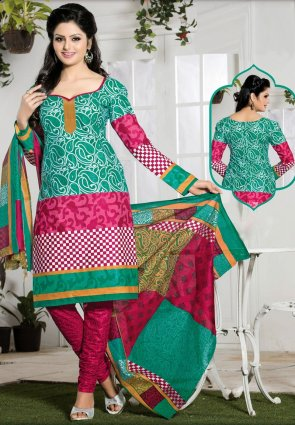 Diffusion Chic Greenish Blue And Pink Salwar Kameez