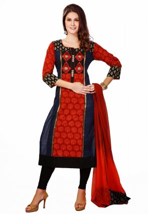 Diffusion Contemporary Navy Blue And Red Salwar Kameez