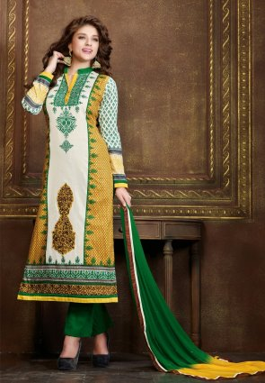 Diffusion Dazzling Diva Off White And Yellow Salwar Kameez