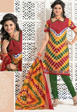 Diffusion Dazzling Diva Orange And Red Salwar Kameez
