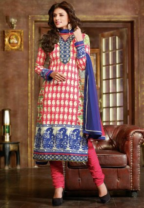 Diffusion Divine Buttercream And Red Salwar Kameez
