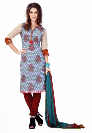 Diffusion Divine Greenish Blue And Sky Blue Salwar Kameez