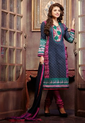 Diffusion Divine Navy Blue And Pink Salwar Kameez