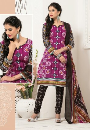 Diffusion Elegant Black And Magenta Salwar Kameez