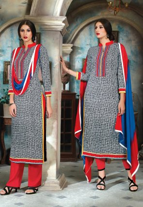 Diffusion Enigmatic Black And Gray Salwar Kameez
