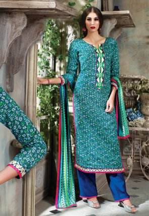 Diffusion Enigmatic Green And Teal Blue Salwar Kameez