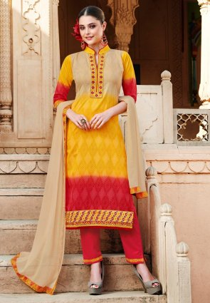 Diffusion Ethnic Beige, Red And Yellow Salwar Kameez