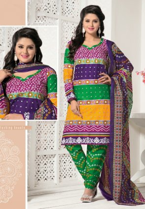 Diffusion Ethnic Green Orange Salwar Kameez