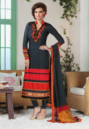 Diffusion Exotic Black And Gray Salwar Kameez