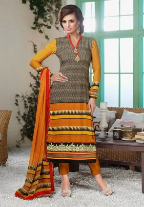 Diffusion Exotic Brown And Yellow Salwar Kameez