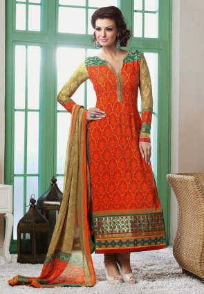 Diffusion Exquisite Deep Orange Salwar Kameez