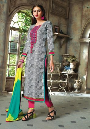 Diffusion Fancy Gray Salwar Kameez