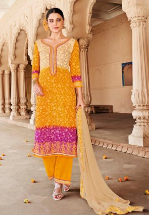 Diffusion Fancy Orange And Pink Salwar Kameez