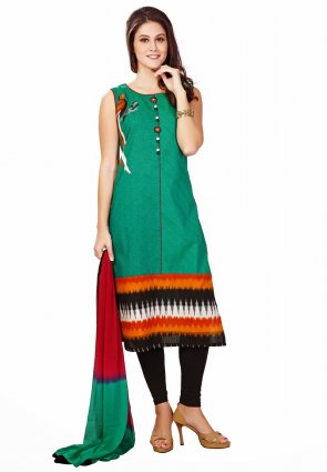 Diffusion Fascinating Jade Green Salwar Kameez