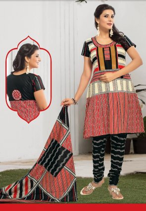 Diffusion Flamboyant Black And Tomato Salwar Kameez