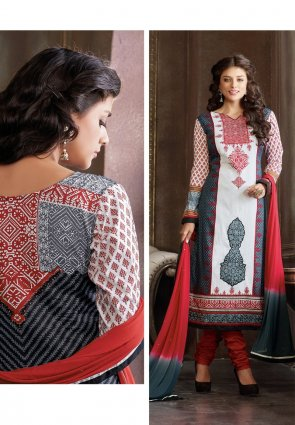 Diffusion Glamorous Gray And Off White Salwar Kameez