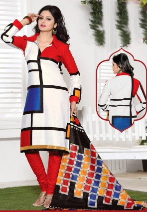 Diffusion Glamorous Off White And Red Salwar Kameez
