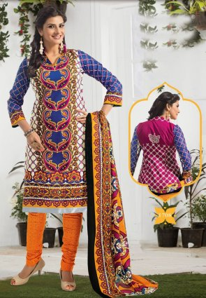 Diffusion Gleaming Blue And Off White Salwar Kameez