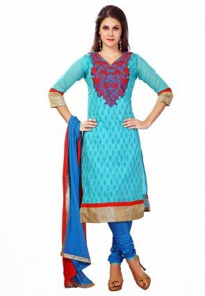 Diffusion Gleaming Cyan Blue Salwar Kameez