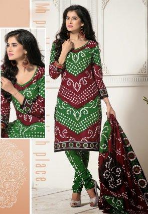 Diffusion Gleaming Green And Maroon Salwar Kameez