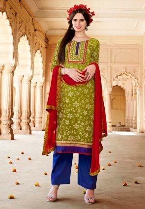 Diffusion Gleaming Mehendi Green Salwar Kameez