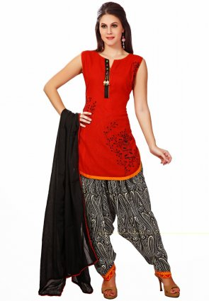 Diffusion Gleaming Red Salwar Kameez