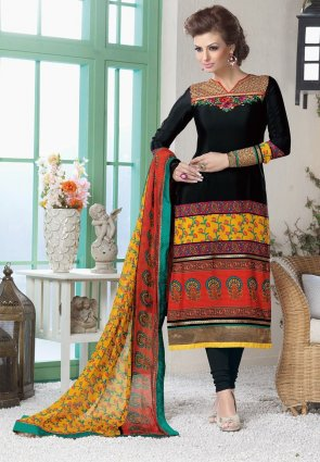 Diffusion Gorgeous Black And Red Salwar Kameez