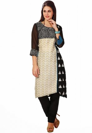 Diffusion Gorgeous Black And Steel Blue Salwar Kameez