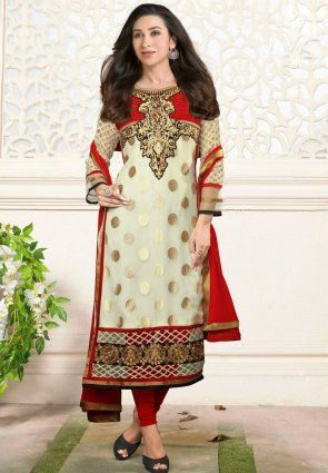 Diffusion Gorgeous Buttercream And Red Salwar Kameez