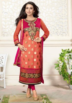 Diffusion Gorgeous Pink And Tomato Salwar Kameez