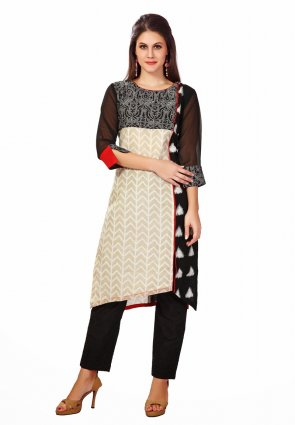 Diffusion Magnificient Black And Red Salwar Kameez
