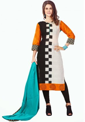 Diffusion Marvelous Black Off White And Orange Salwar Kameez