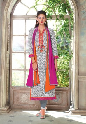 Diffusion Marvelous Gray And Off White Salwar Kameez