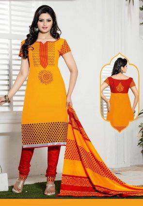 Diffusion Melodic Orange Salwar Kameez