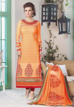 Diffusion Plushy Buttercream And Orange Salwar Kameez