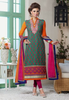 Diffusion Plushy Greenish Blue And Orange Salwar Kameez