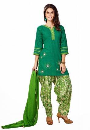 Diffusion Scintillating Green Salwar Kameez
