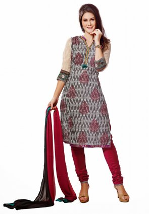 Diffusion Sparkling Gray And Off White Salwar Kameez