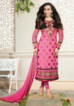 Diffusion Splendorous Black And Pink Salwar Kameez